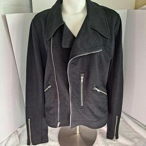 Norma Kamali Cotton Moto Jacket Zippers Size M